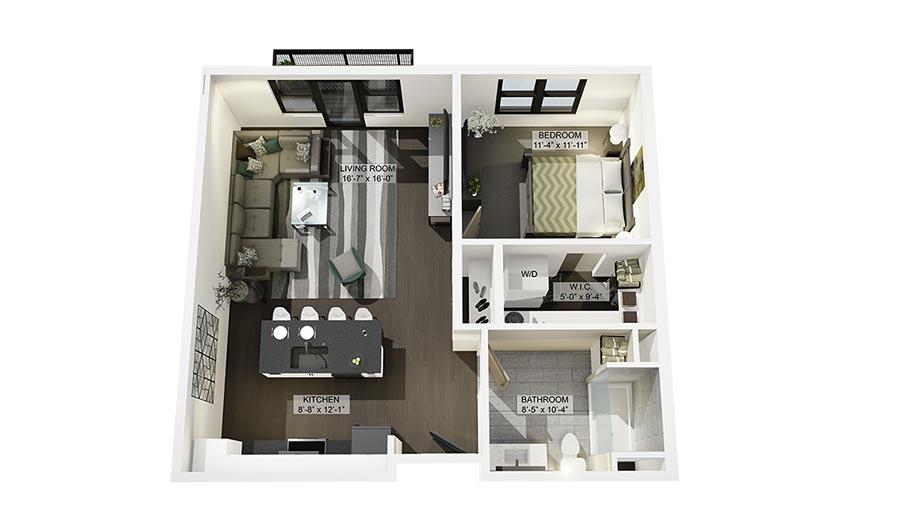 1B 3D Floor Plan Rendering