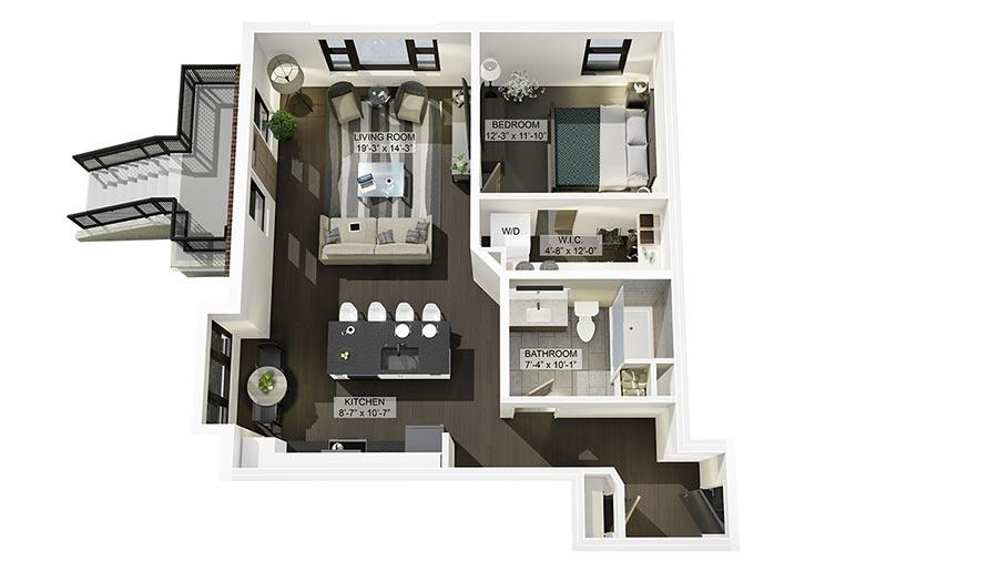 1C 3D Floor Plan Rendering