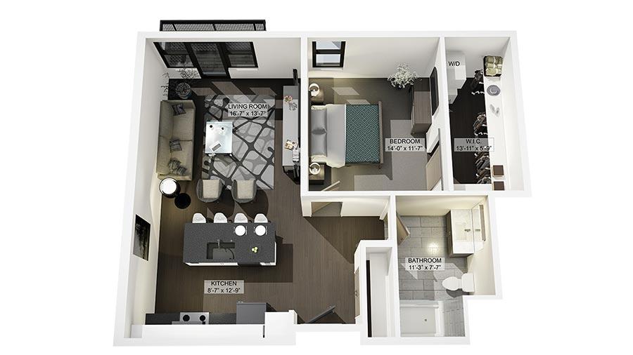1D 3D Floor Plan Rendering