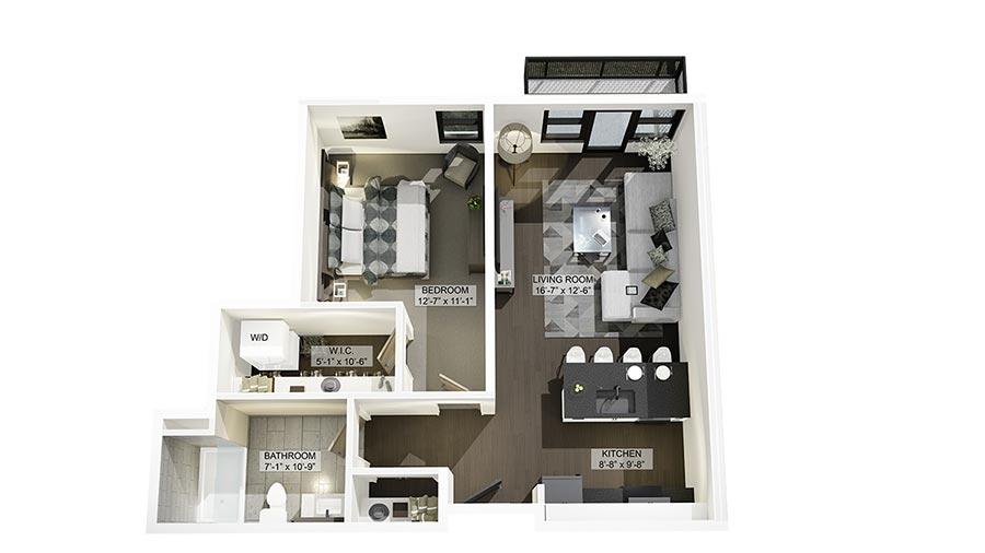 1E 3D Floor Plan Rendering