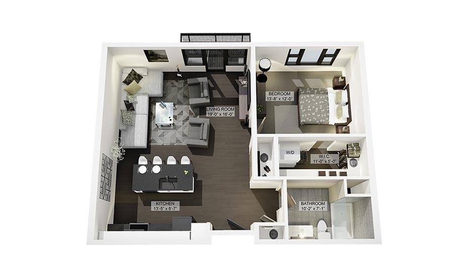 1F 3D Floor Plan Rendering