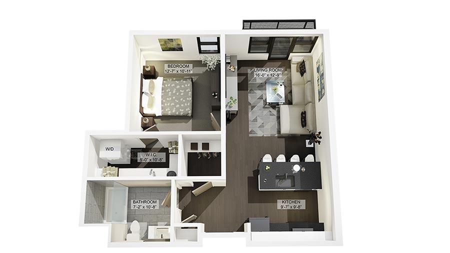 1G 3D Floor Plan Rendering