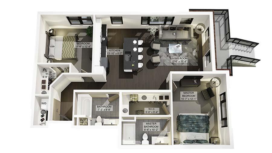 2A 3D Floor Plan Rendering
