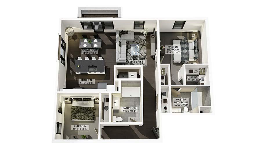 2ADA 3D Floor Plan Rendering