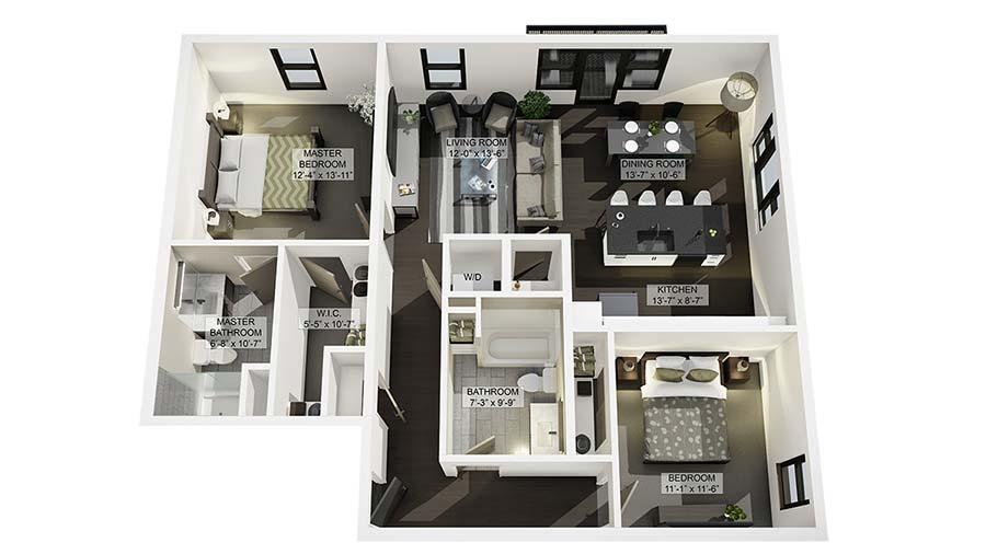 2B 3D Floor Plan Rendering