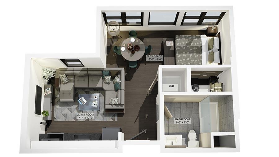 Studio 3D Floor Plan Rendering