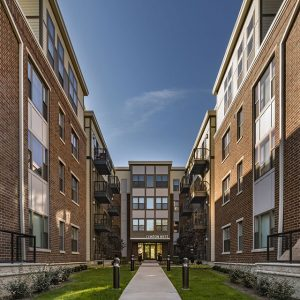 Community landscape and apartment buildings